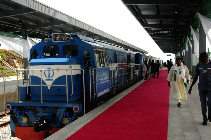 ABUJA, July 13, 2018 - The Abuja light rail train arrives at the airport station in Abuja, Nigeria, July 12, 2018. Nigeria on Thursday formally commissioned the China-assisted Abuja light rail ...