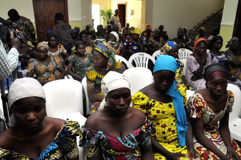 ABUJA, May 8, 2017 - Newly released Chibok girls wait to receive medical check-up after arriving in Abuja, Nigeria, May 7, 2017. Nigerian President Muhammed Buhari on Sunday evening received the ...