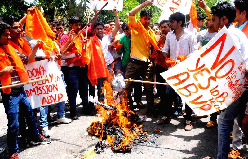 ABVP activists burn effigies of Delhi University Vice Chancellor Dinesh Singh to press for rollback of FYUP in New Delhi on June 25, 2014.