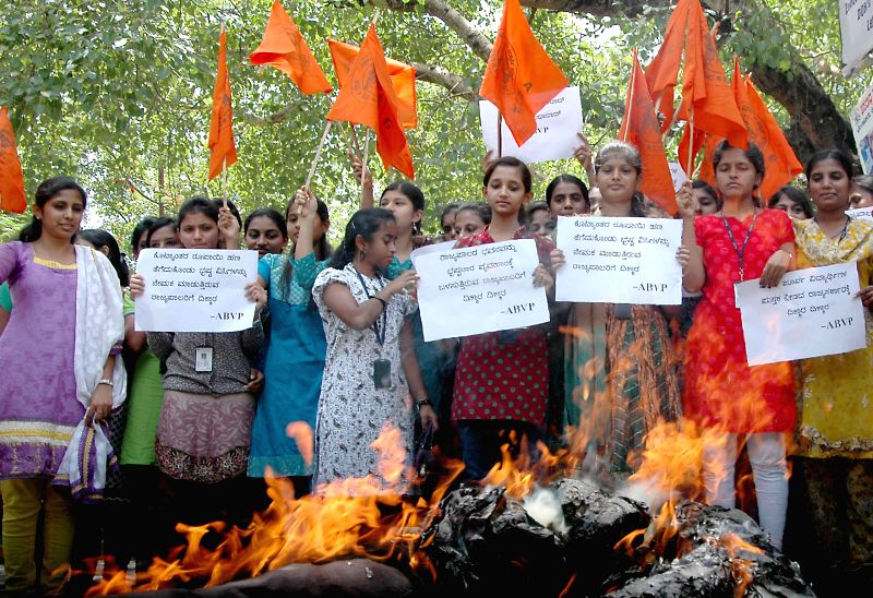 ABVP activists demonstrate against Karnataka Governor H.R Bharadwaj in Bangalore on June 26, 2014.
