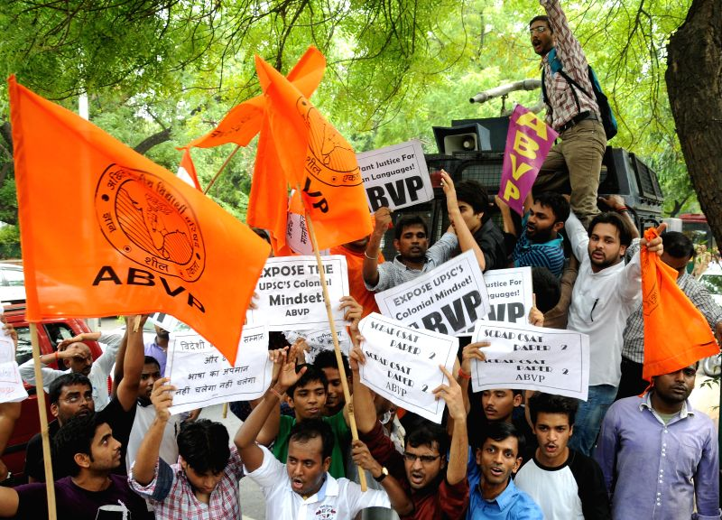 ABVP activists demonstrate outside UPSC office to press for scrapping of Civil Services Aptitude Tests (C-SAT) in New Delhi on July 14, 2014.