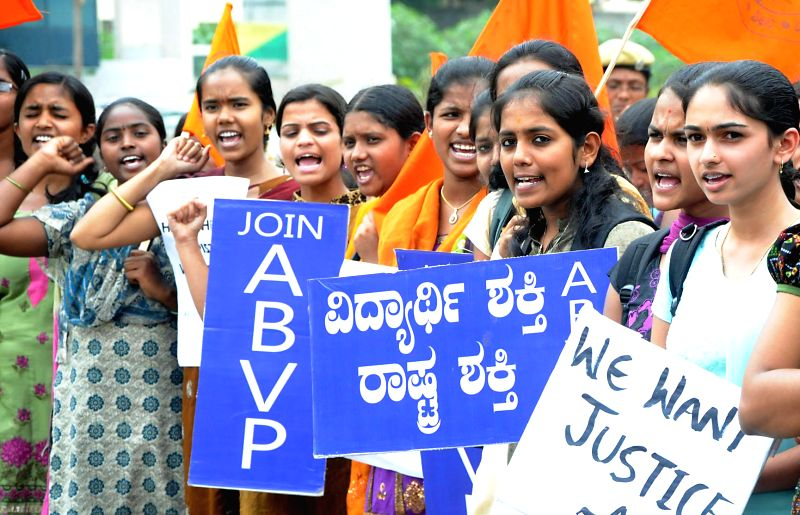 ABVP activists during a demonstration at SBM Circle in Bangalore on July 17, 2014.
