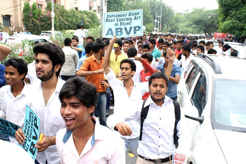 ABVP activists `March for Students' Right` at Delhi University's South campus in New Delhi on Aug 29, 2014.