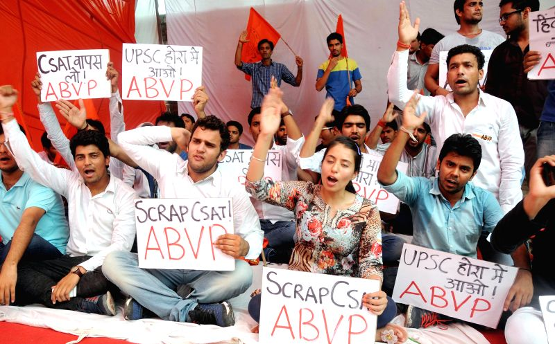ABVP activists stage a demonstration against Civil Services Aptitude Test (CSAT) at Jantar Mantar in New Delhi on July 27, 2014.