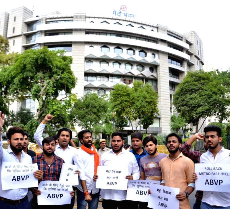 ABVP activists stage a demonstration against hike in metro fare in New Delhi on May 18, 2017.