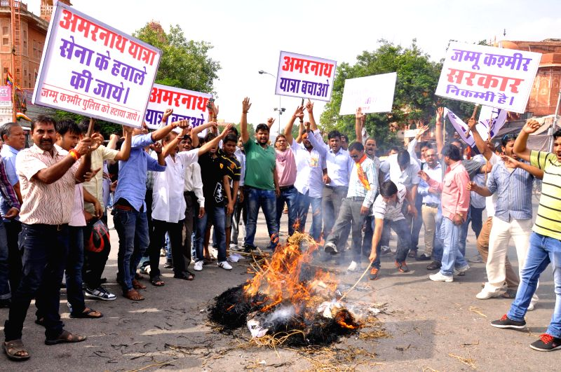 ABVP activists stage a demonstration in Jaipur to vent out their anger against torching of langar tents set-up for devotees at Baltal in Jammu and Kashmir, on July 19, 2014.