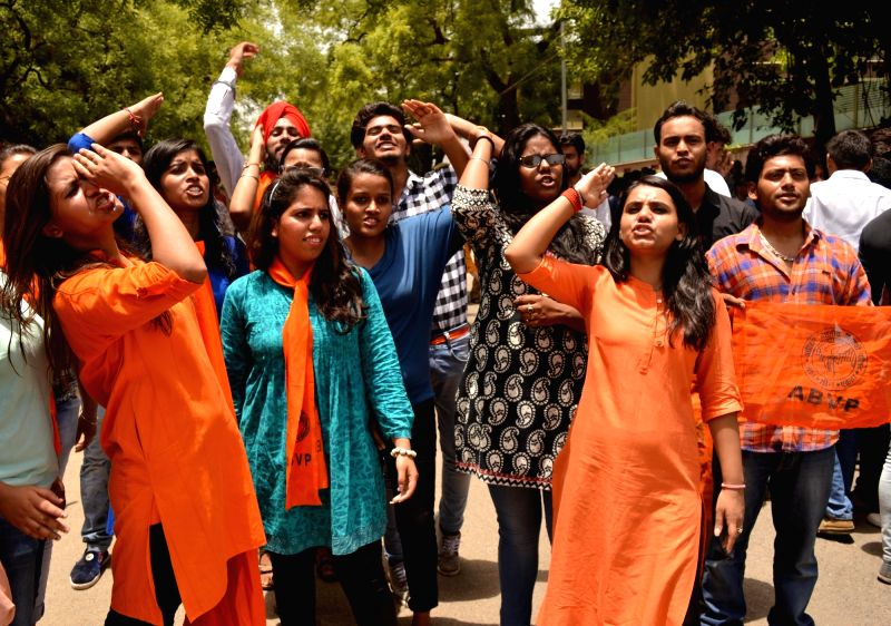 ABVP and DUSU activists stage a demonstration against Delhi government at Civil Lines in New Delhi, on June 2, 2016.