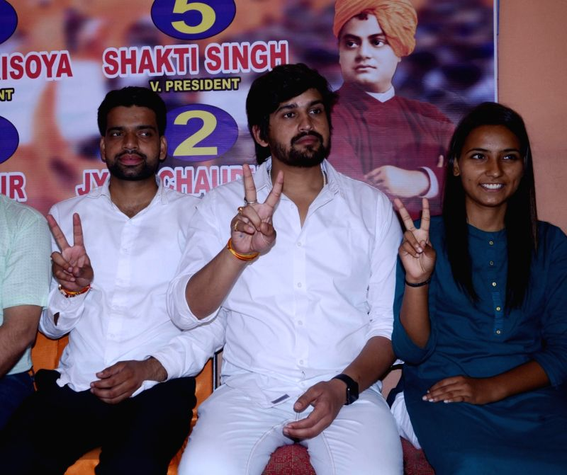 ABVP leaders Ankiv Baisoya, Shakti Singh and Jyoti Chaudhary who won the posts of president, vice-president and joint secretary respectively in the recently concluded DUSU polls address a ... - Singh and Jyoti Chaudhary