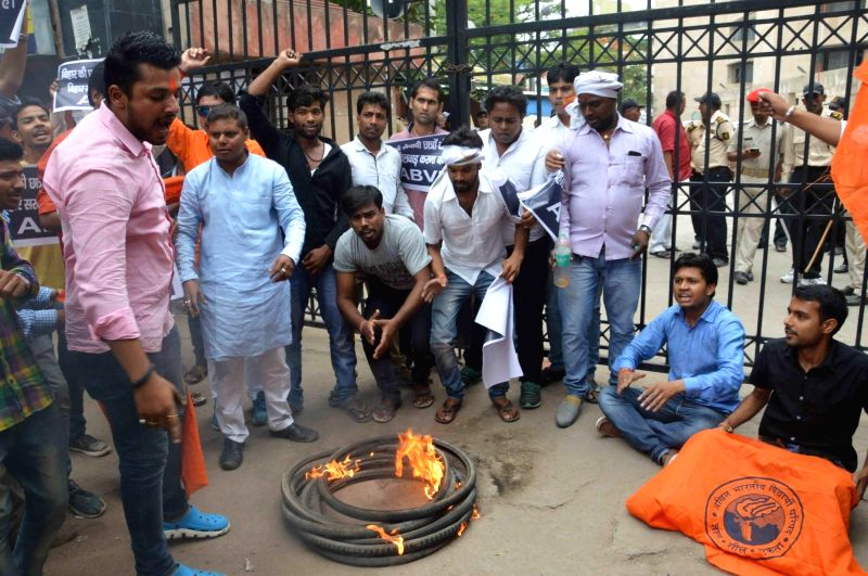 ABVP students stage a demonstration against Bihar education Ministerin Patna on June 6, 2017.