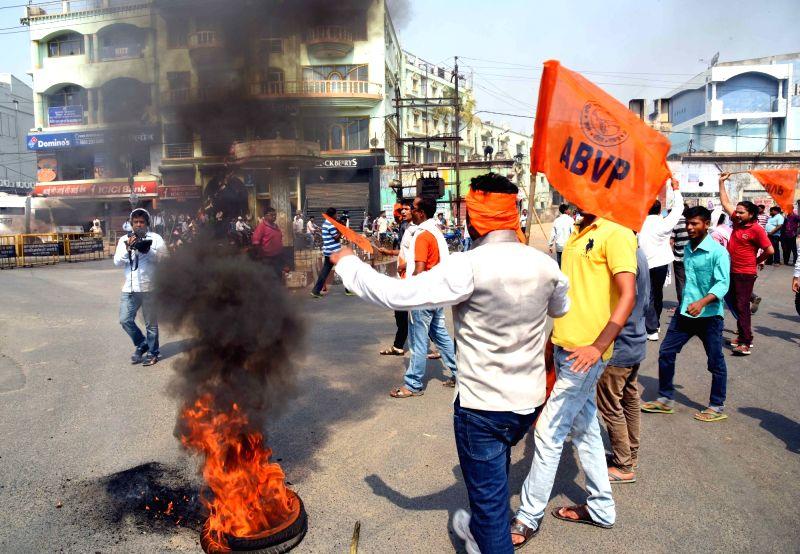 ABVP students stage a demonstration against the death of Aditya Sachdeva, son of a businessman who was allegedly shot dead by Rocky Yadav son of JD-U MLC Manorma Devi and Bindi Yadav, a ... - Bindi Yadav