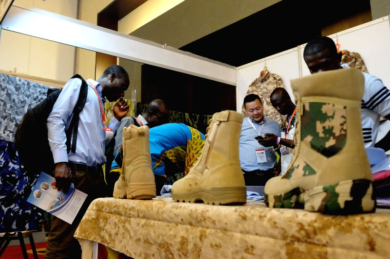 ACCRA, May 17, 2017 - Visitors look at the products on display during the China Trade Week in Accra, Ghana, on May 17, 2017. Approximately 50 Chinese companies selected from various sectors, ...