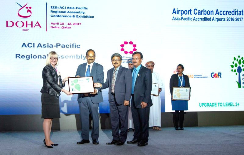 ACI Asia-Pacific President Kerrie Mather (first from left) give away the ACI Level 3+ Neutrality Certificate to GHIAL CEO SGK Kishore (2nd from left), COO Manish Sinha (3rd from left) and ... - Manish Sinha