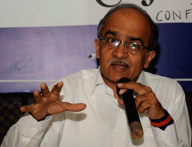 Activist-lawyer Prashant Bhushan addresses a press conference in New Delhi, on Nov 23, 2015.