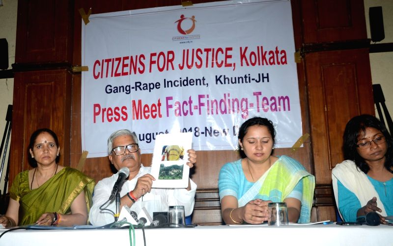 "Activist of Citizens for Justice, Kolkata (CFJ) during a press conference regarding ""Gang rape Incident at Jharkhand's Khunti"" in New Delhi on Aug 11, 2018."