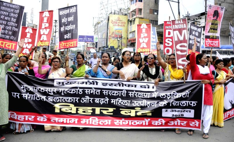 Activists from various women organisations of Bihar stage a demonstration during a shutdown called by the Left parties in Bihar against the rape of 34 minor girls at a shelter home in ...
