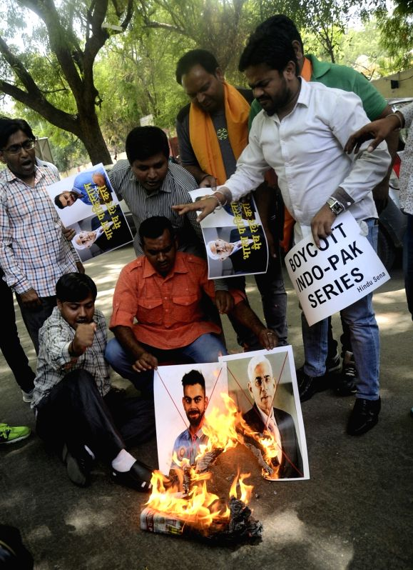 Activists of a right-wing organisation stage a demonstration against 2017 ICC Champions Trophy India-Pakistan match in New Delhi, on June 2, 2017.
