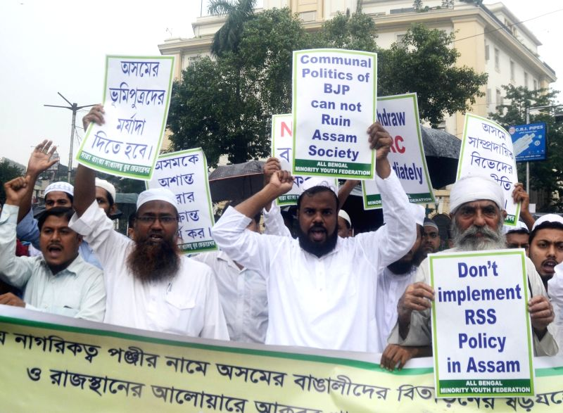 Activists of All Bengal Minority Youth Federation stage a demonstration against National Register of Citizens (NRC) of Assam that excludes over 40 lakh names; in Kolkata on July 31, 2018.