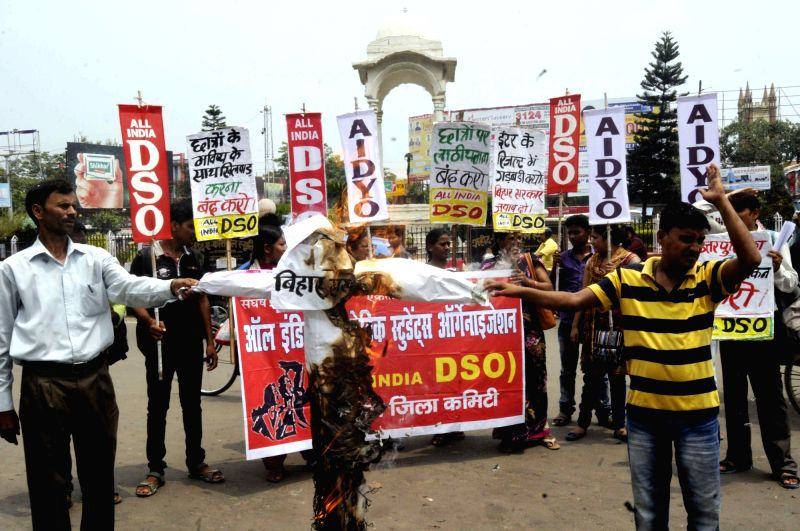 Activists of All India Democratic Students' Organisation (AIDSO) stage a demonstration against the Bihar government over alleged discrepancies in the class 12 results declared by Bihar School ...