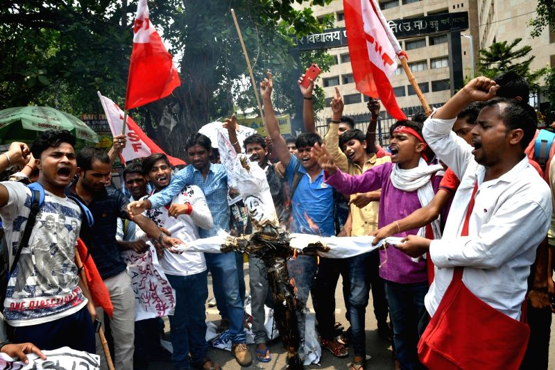 Activists of All India Students Federation (AISF) stage a demonstration against Bihar government over alleged discrepancies in the class 12 results declared by Bihar School Examination Board ...