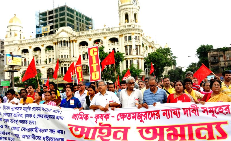 Activists of CPI-affiliated Centre of Indian Trade Unions (CITU) stage a demonstration against the Central Government, in Kolkata on Aug 9, 2018.