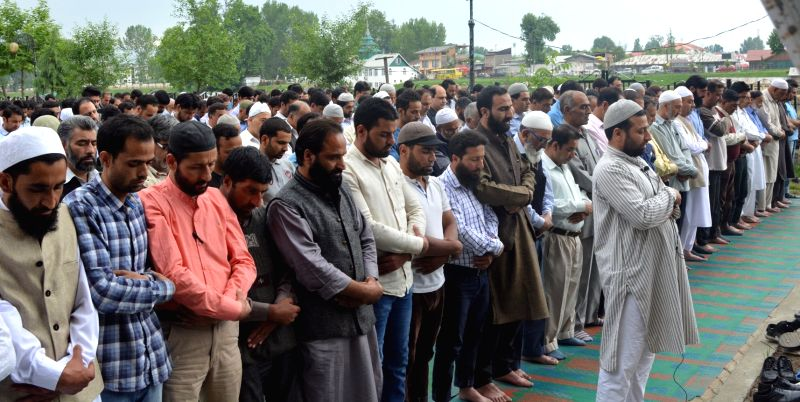 Activists of Hurriyat Conference participate in funeral prayer in absentia of Motiur Rahman Nizami - a top Islamist leader who was executed for crimes committed during the war of ...