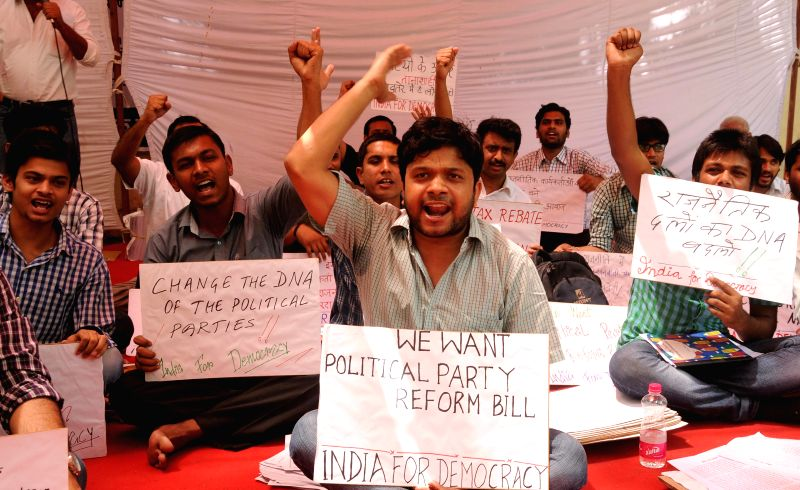 Activists of India for Democracy demonstrate at Jantar Mantar to demand political party reform bill in New Delhi on April 25, 2014.