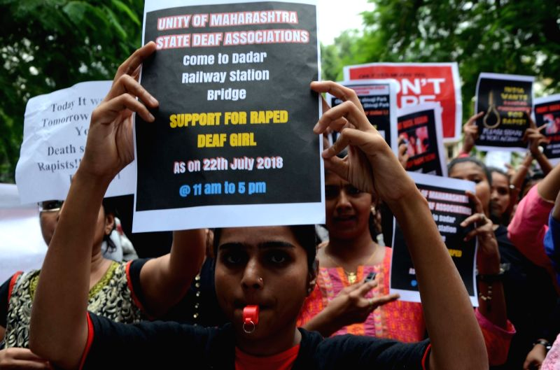 Activists of Maharashtra State Deaf Association stage a demonstration against the gang-rape of a deaf girl in Chennai; in Mumbai on July 22, 2018.