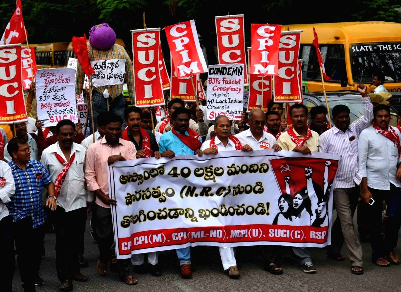 Activists of Socialist Unity Centre of India-Communist (SUCI-C) stage a demonstration against NRC in Assam; in Hyderabad on Aug 8, 2018.