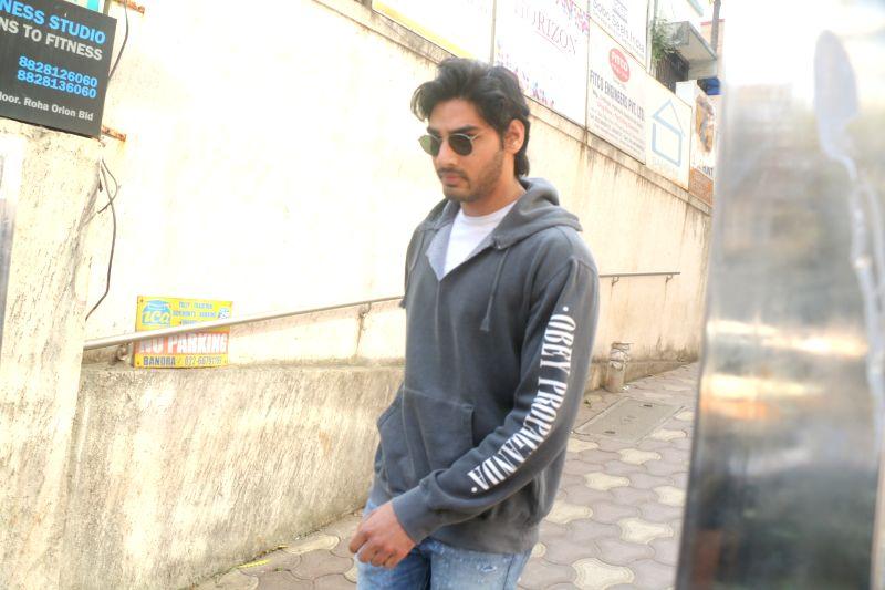 Actor Aahan Shetty seen at Bandra in Mumbai on Jan 30, 2018. - Aahan Shetty