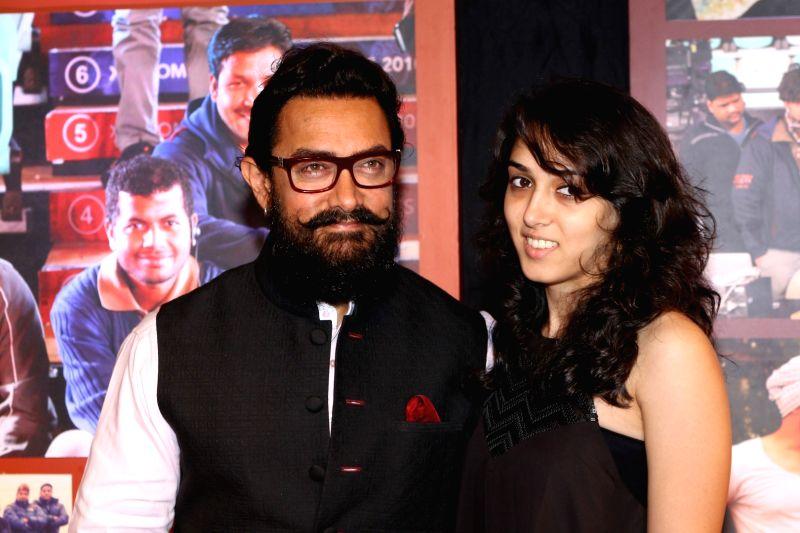 Actor Aamir Khan along with daughter Ira Khan