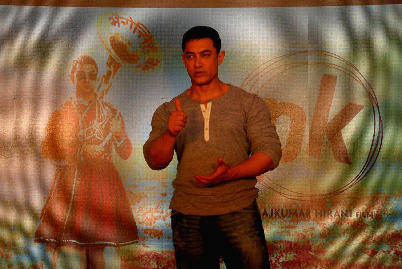 Actor Aamir Khan during the launch of second poster of film PK in Mumbai, on Aug. 20, 2014. - Aamir Khan