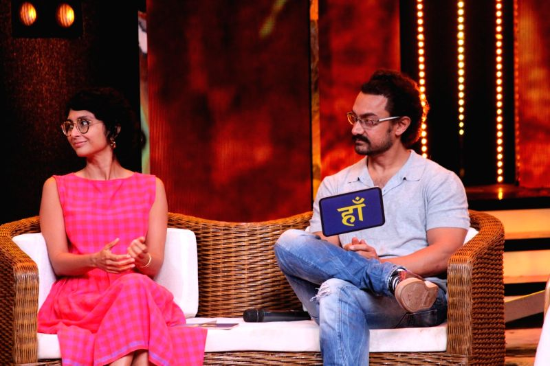 "Actor Aamir Khan with his wife and filmmaker Kiran Rao with Dangal team during the visit On the set Of "" Sa Re Ga Ma Pa 2017"" in Mumbai on May 20, 2017. - Aamir Khan and Kiran Rao"