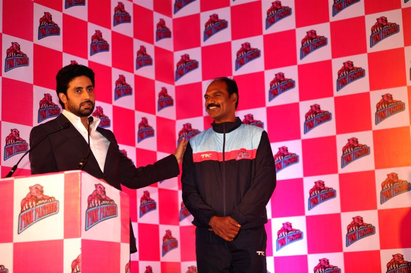 Actor Abhishek Bachchan and owner of Jaipur Pink Panthers Kabaddi team during the press conference to make a formal announcement of players and unveiling of the official team jersey in Mumbai on July - Abhishek Bachchan