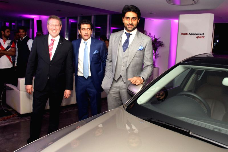 Actor Abhishek Bachchan, Audi Approved Plus MD Rashy Todd and Audi India Head Joe King at the launch of a luxury car showroom in Gurgaon on April 19, 2014.