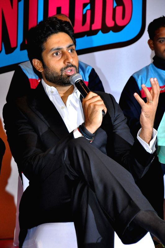 Actor Abhishek Bachchan during a a press conference regarding kabaddi team - `Jaipur Pink Panthers` ahead of World Kabaddi League (WKL) in Jaipur on July 22, 2014. - Abhishek Bachchan