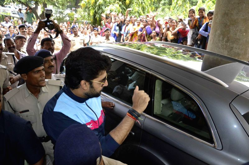 Actor Abhishek Bachchan during a programme organised at Magadh Mahila College in Patna on Aug 11, 2014.
