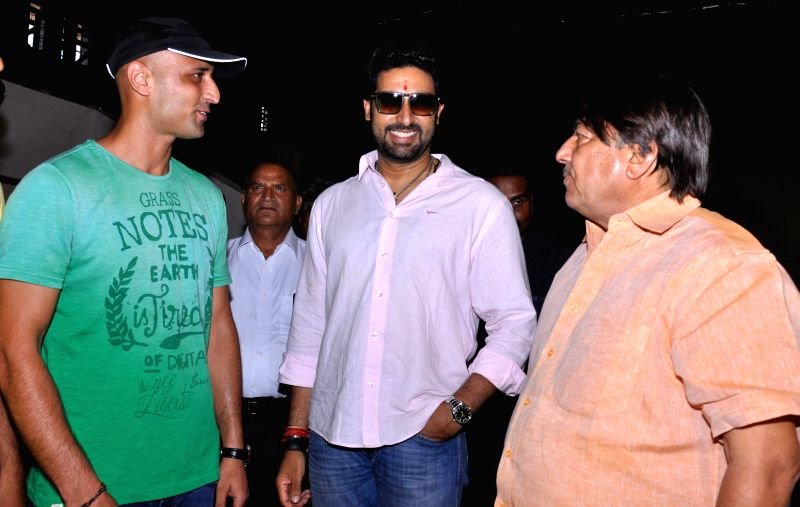 Actor Abhishek Bachchan during the shooting for his upcoming film `Pro Kabaddi League` at Sawai Mansingh Stadium in Jaipur on June 16, 2014.