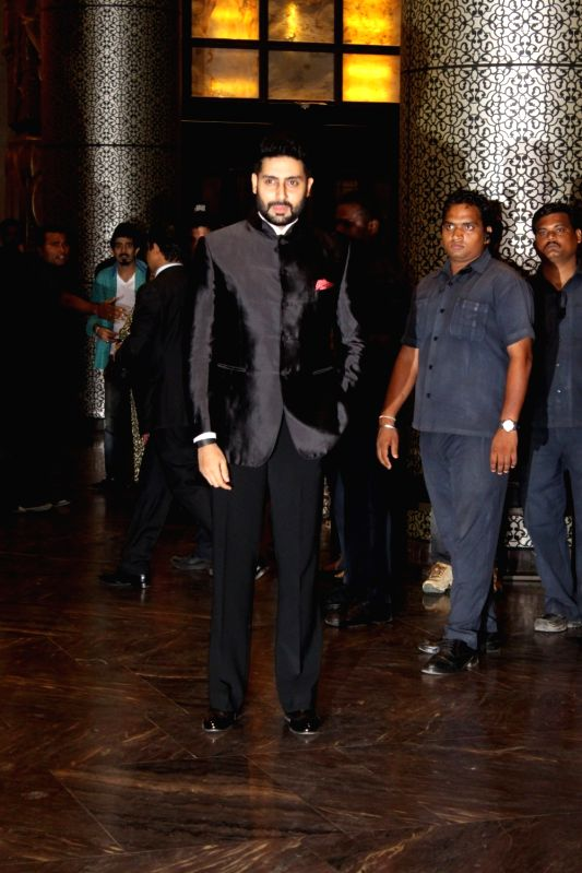 Actor Abhishek Bachchan during the wedding reception of Preity Zinta and Gene Goodenough in Mumbai, on May 13, 2016. - Abhishek Bachchan and Preity Zinta