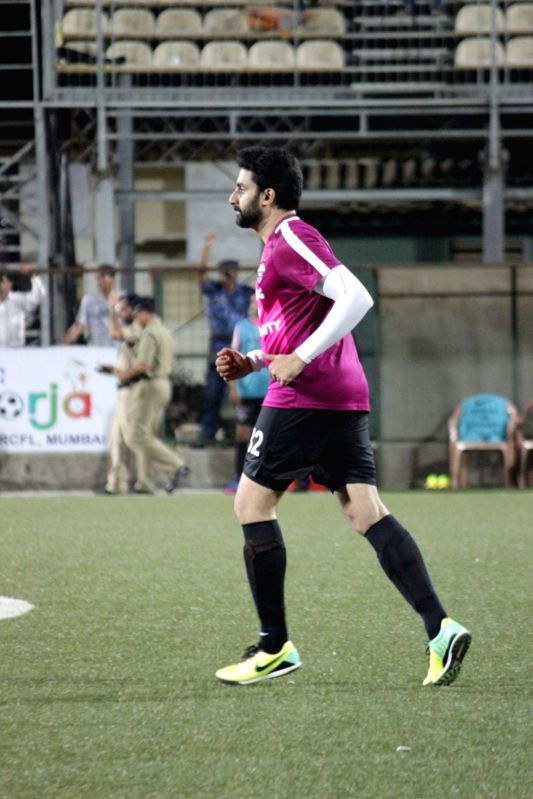 Actor Abhishek Bachchan in action during the football match between Bollywood Stars v/s CISF on the occasion of closing ceremony of Oorja-CAPF U- 19 Football Talent Hunt Tournament 2017 in ... - Abhishek Bachchan