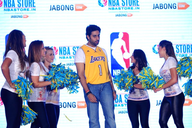 Actor Abhishek Bachchan with celebs during the launch of NBA Store in Mumbai on May 06, 2014