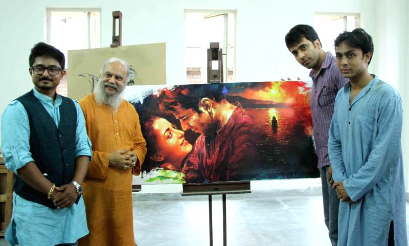 Actor Abir Chatterjee with famed painter Subhaprasanna during poster launch of upcoming film 'Hrid Majhare' in Kolkata on June 19, 2014. - Abir Chatterjee