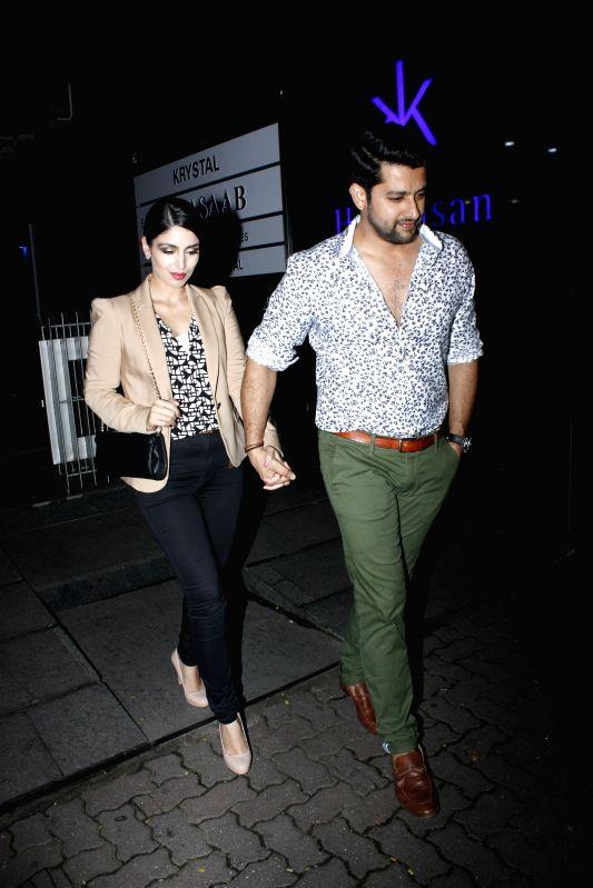 Actor Aftab Shivdasani along with his wife Nin Dusanj during 24K Gold Party in Mumbai, on Aug 13, 2015. - Aftab Shivdasani