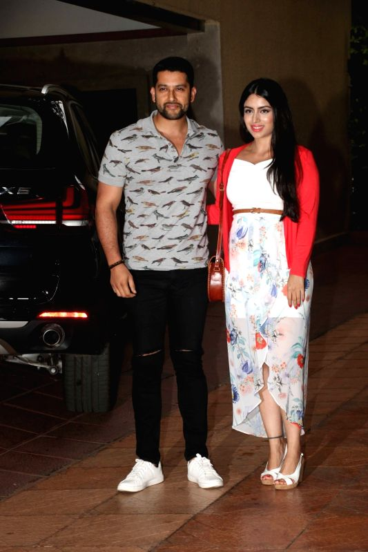 Actor Aftab Shivdasani along with his wife Nin Dusanj during Tussar Kapoor son Laksshay`s first birthday party in Mumbai on June 1, 2017. - Aftab Shivdasani and Tussar Kapoor