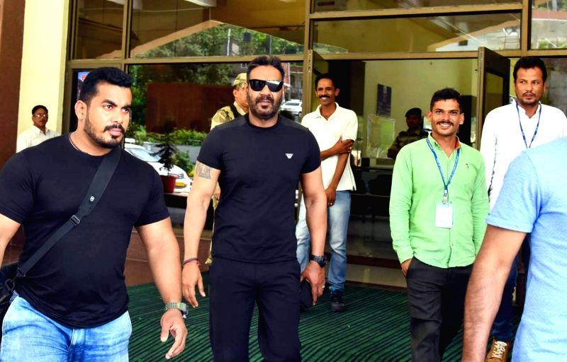 "Actor Ajay Devgan arrives in Manali for ""De De Pyaar De"" film shooting at Bhuntar Airport, Himachal Pradesh on Aug 10, 2018. - Ajay Devgan"