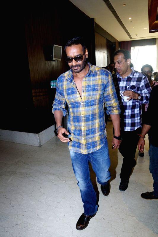 "Actor Ajay Devgan at the promotion of his upcoming film ""Raid"" in Mumbai on March 3, 2018. - Ajay Devgan"