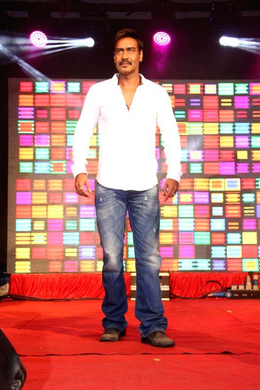 Actor Ajay Devgan during the promotion of the film Singham Returns at Umang Festival in Mithibai College, Mumbai on Aug 14, 2014. - Ajay Devgan