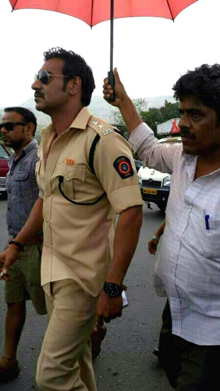 Actor Ajay Devgan during the shooting of the film `Singham 2` at Koyna Ghat in Maharashtra on June 28, 2014.