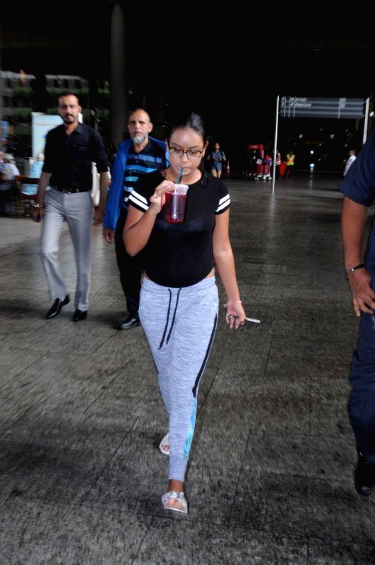 Actor Ajay Devgan's daughter Nysa Devgan spotted at Chhatrapati Shivaji Maharaj International Airport in Mumbai, on June 13, 2017. - Ajay Devga