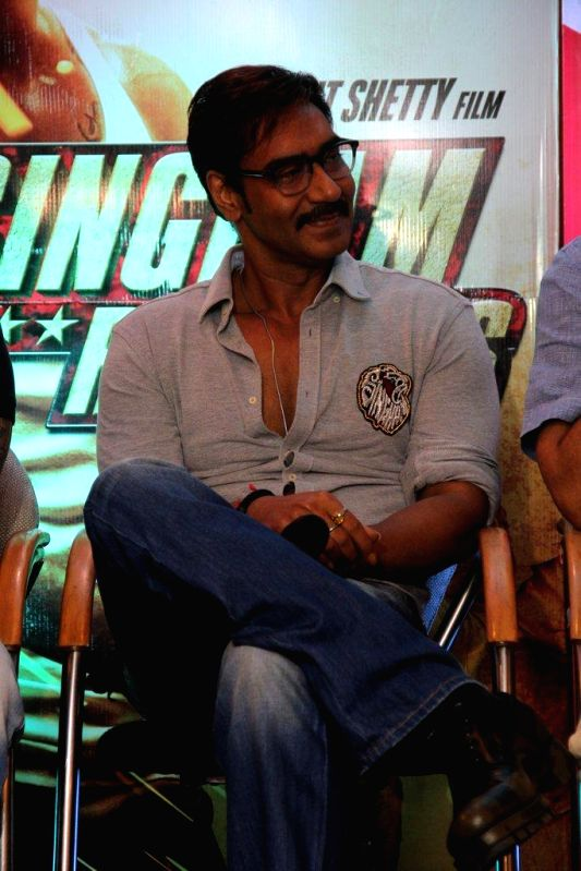 Actor Ajay Devgn during the promotion of Marathi film Rege in Mumbai, on August 9, 2014. - Ajay Devgn