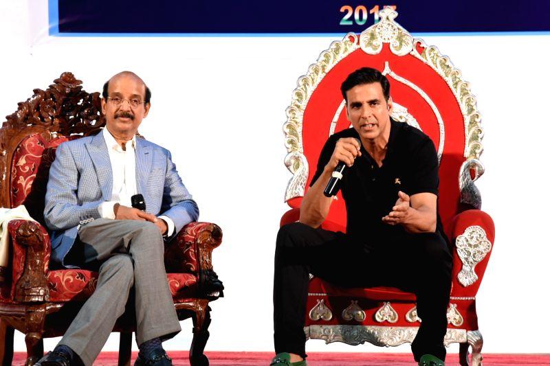 Actor Akshay Kumar and Dr. Ramakant Panda during Movie Stunt Artists Association meet in Mumbai on April 24, 2017. - Akshay Kumar